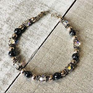 Sterling Silver Beaded Crystal Bracelet